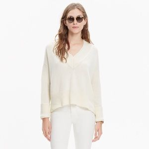 Madewell V Neck Side Slit Sweater Pullover Ivory